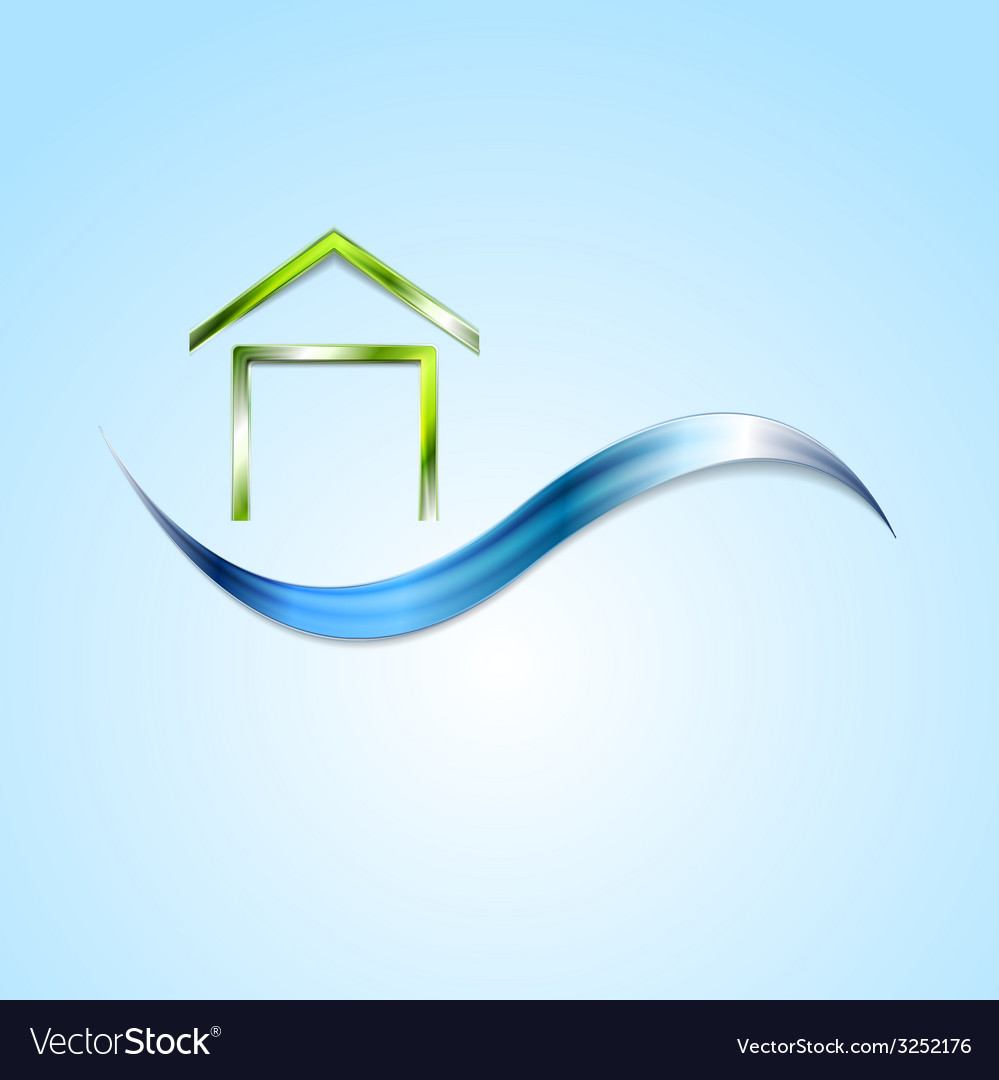 Bright house logo and wave design vector | Price: 1 Credit (USD $1)