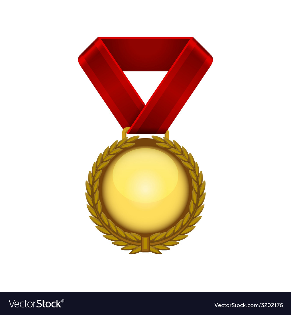 Champion gold medal with red ribbon vector   Price: 1 Credit (USD $1)
