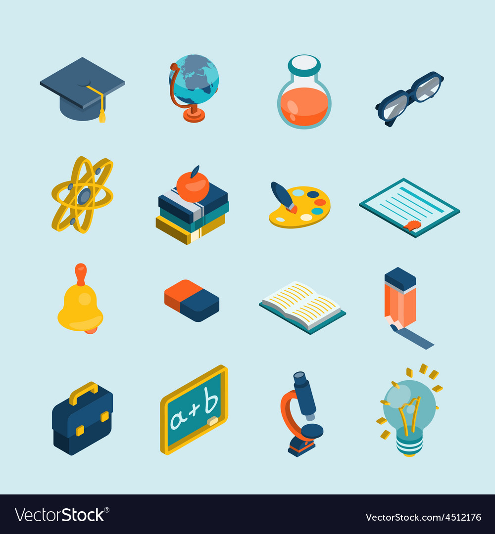 Education isometric set vector | Price: 1 Credit (USD $1)
