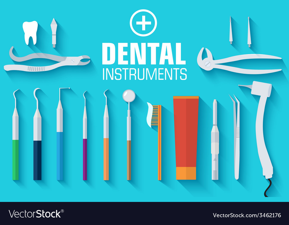 Flat dental instruments set design concept vector   Price: 1 Credit (USD $1)