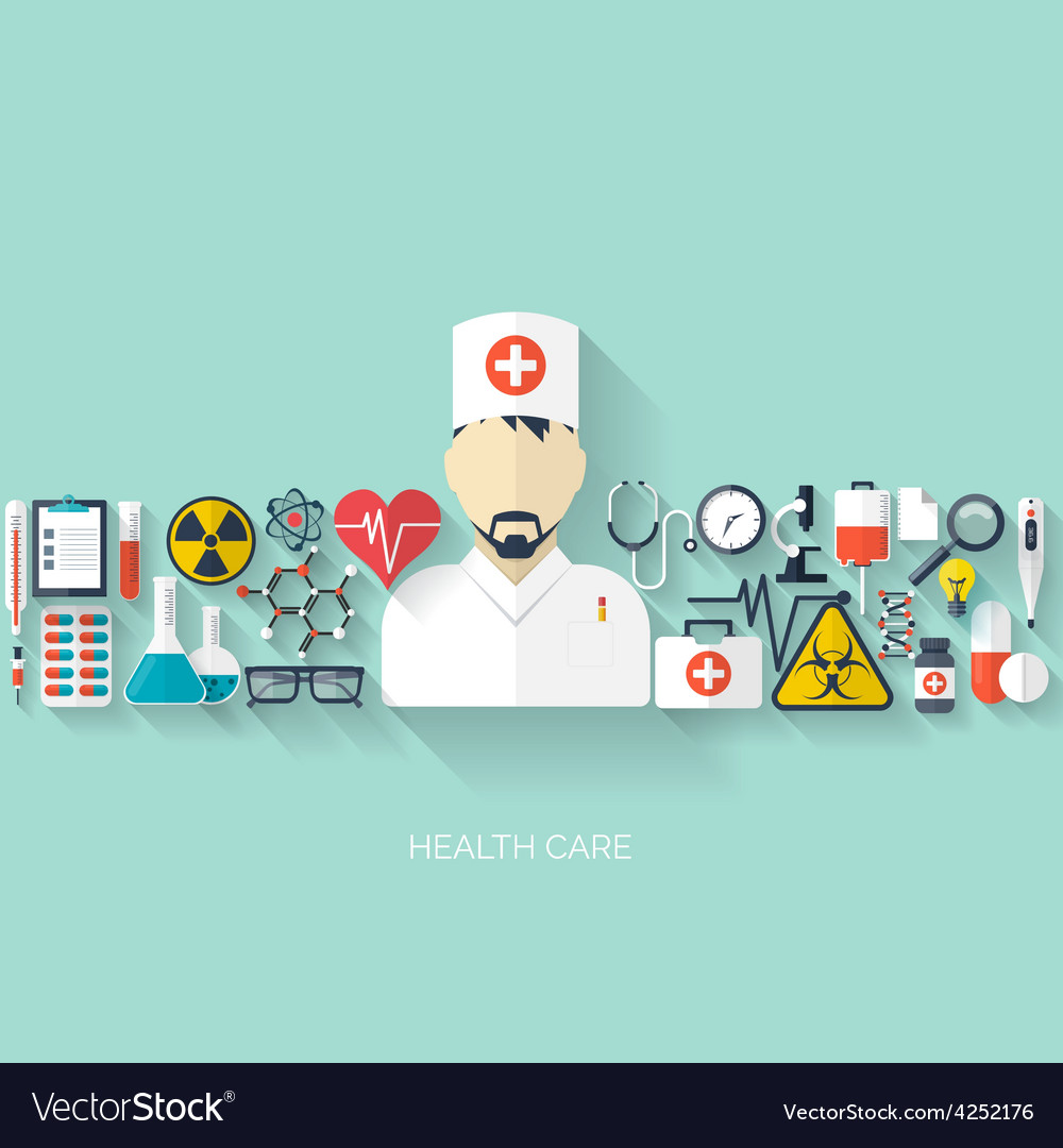 Flat health care and medical research background vector | Price: 1 Credit (USD $1)