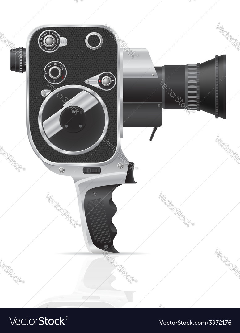 Old retro vintage movie video camera 02 vector | Price: 3 Credit (USD $3)