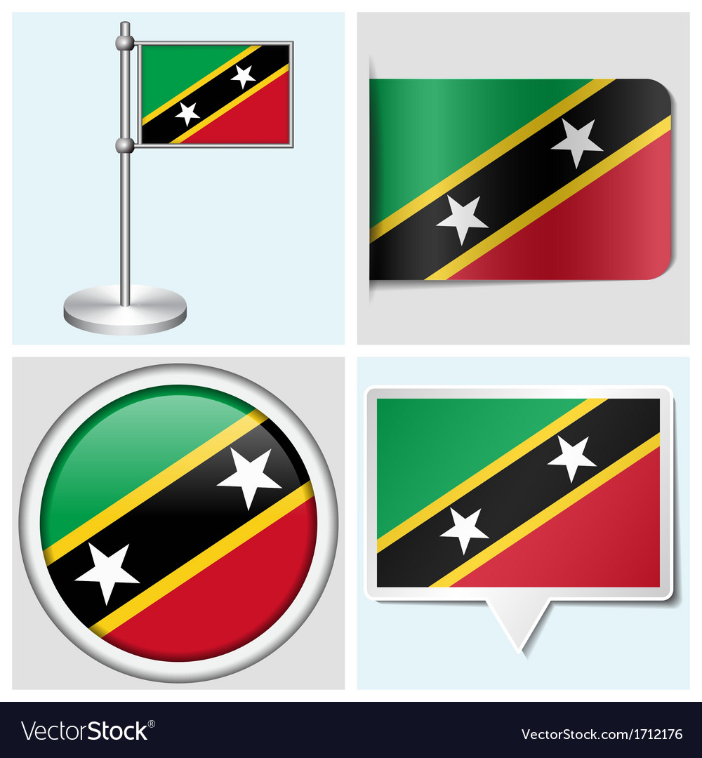 Saint kitts and nevis flag - sticker button vector | Price: 1 Credit (USD $1)