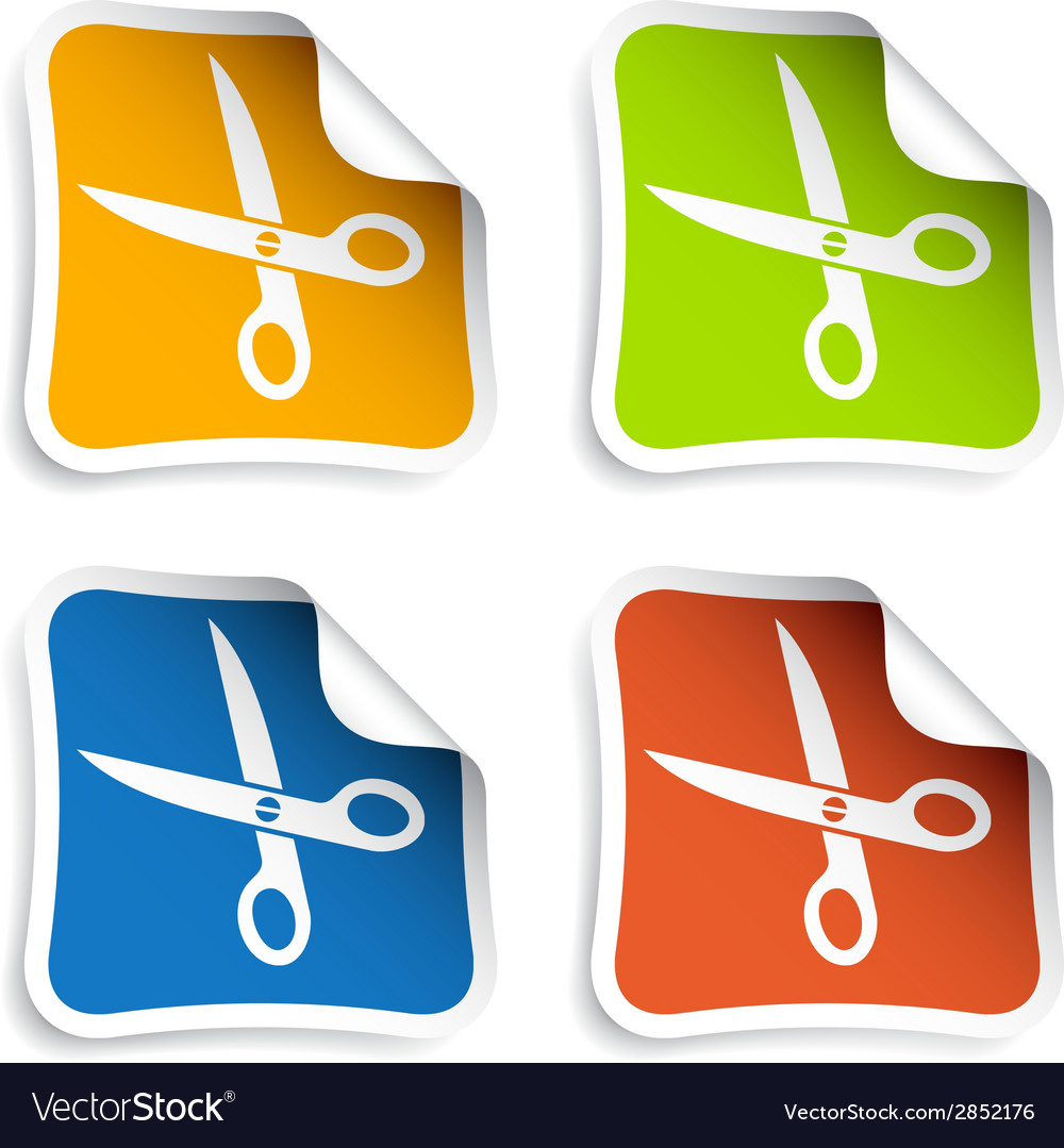 Scissors stickers vector | Price: 1 Credit (USD $1)