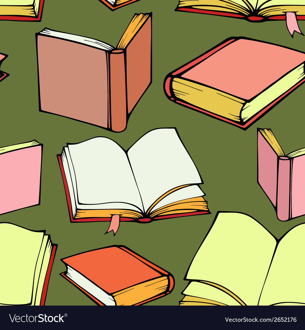 Seamless pattern with decorative books vector | Price: 1 Credit (USD $1)