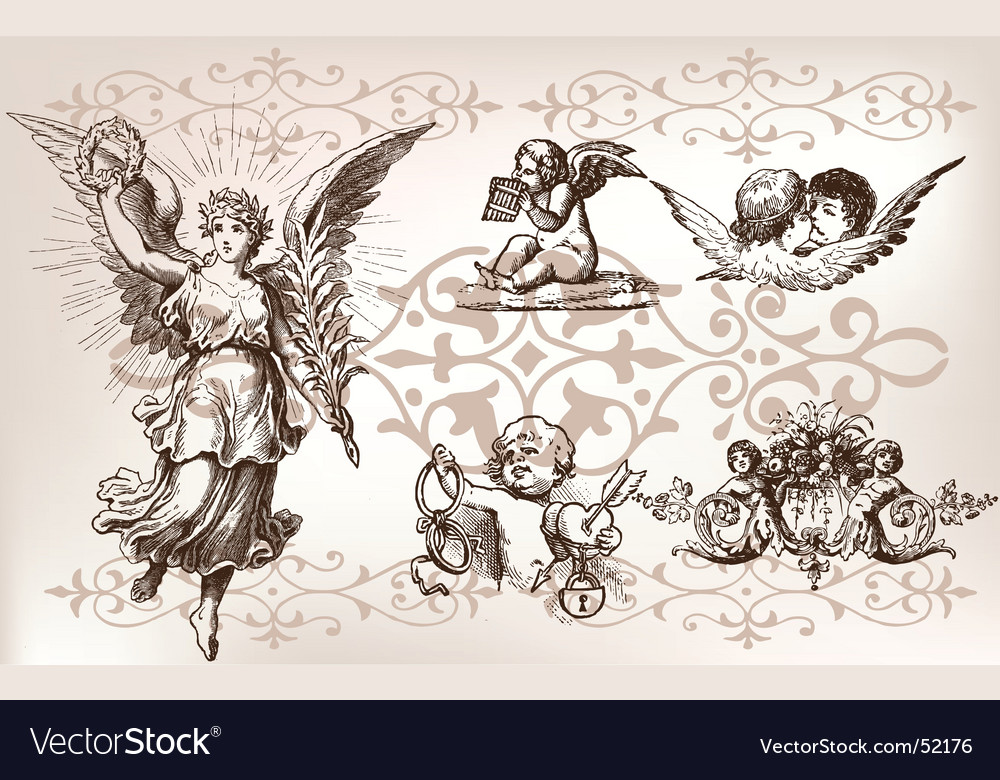 Vintage angel set vector | Price: 1 Credit (USD $1)