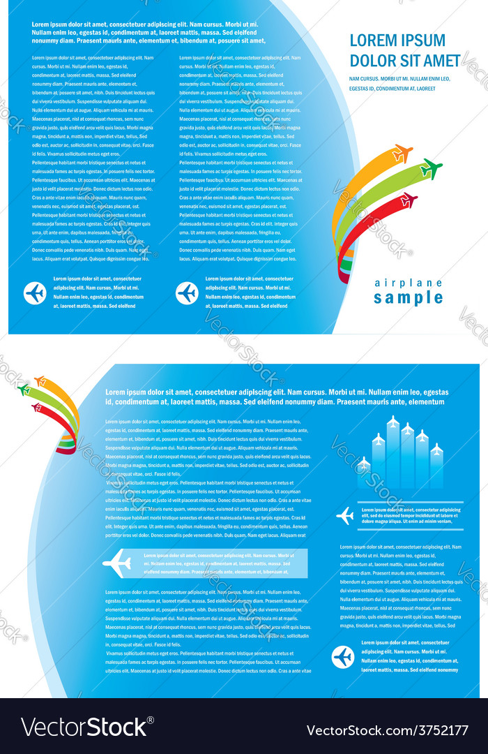 Brochure booklet airplane fly vector