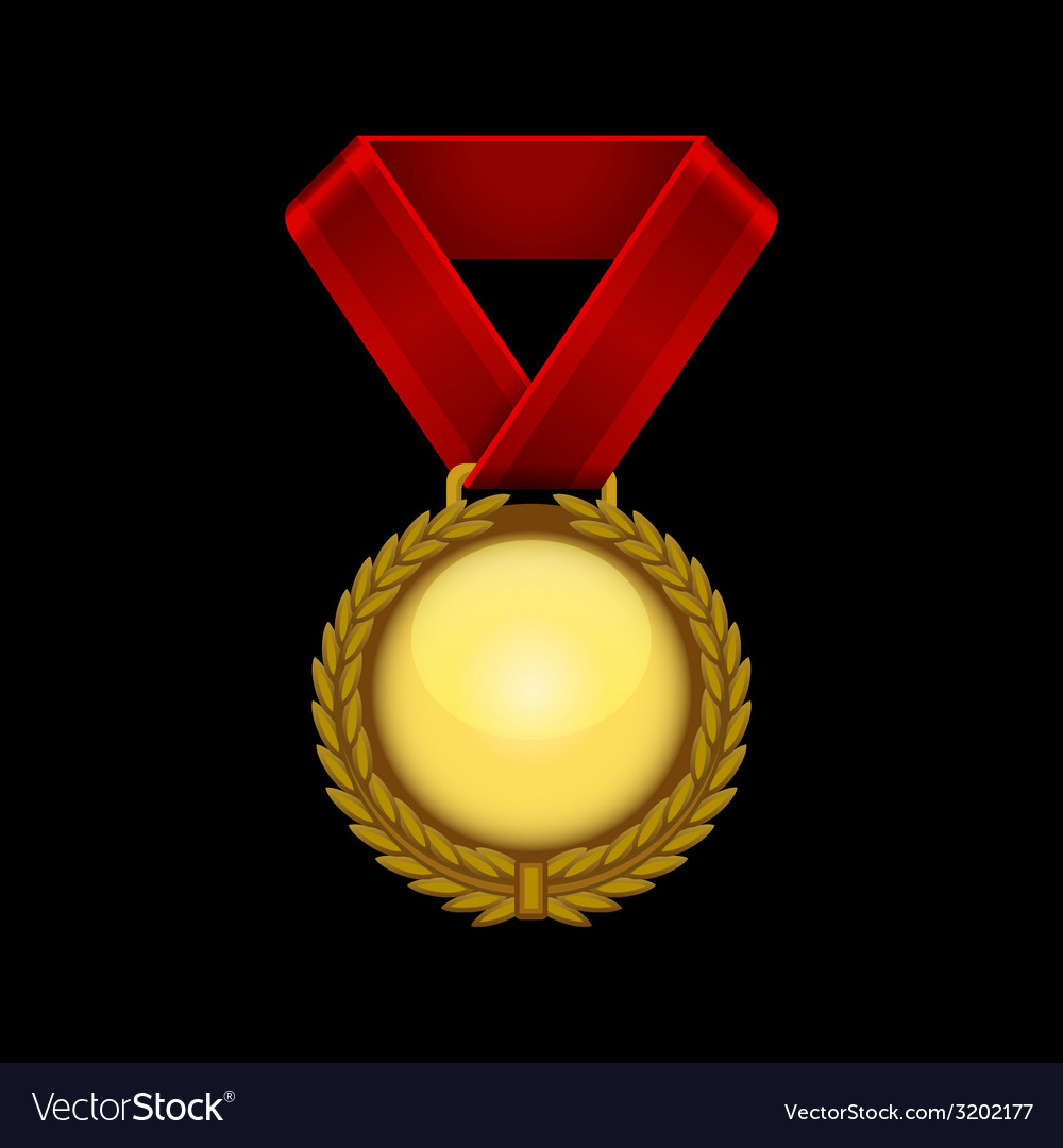 Champion gold medal with red ribbon vector | Price: 1 Credit (USD $1)