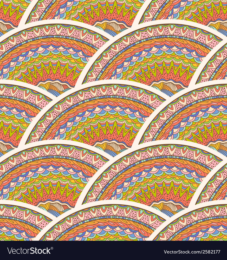 Colorful seamless hand-drawn pattern waves vector | Price: 1 Credit (USD $1)