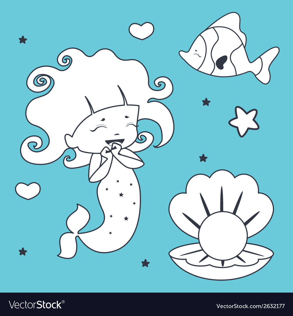 Cute mermaid fish and shell coloring book vector | Price: 1 Credit (USD $1)