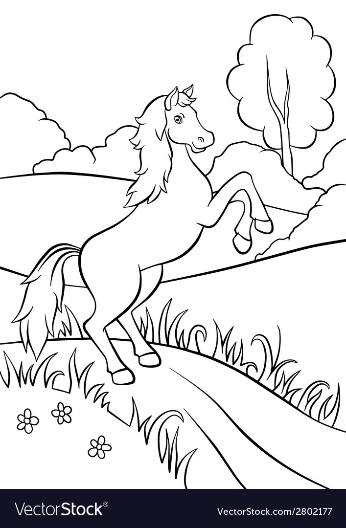 Horse standing on the road in field vector | Price: 1 Credit (USD $1)