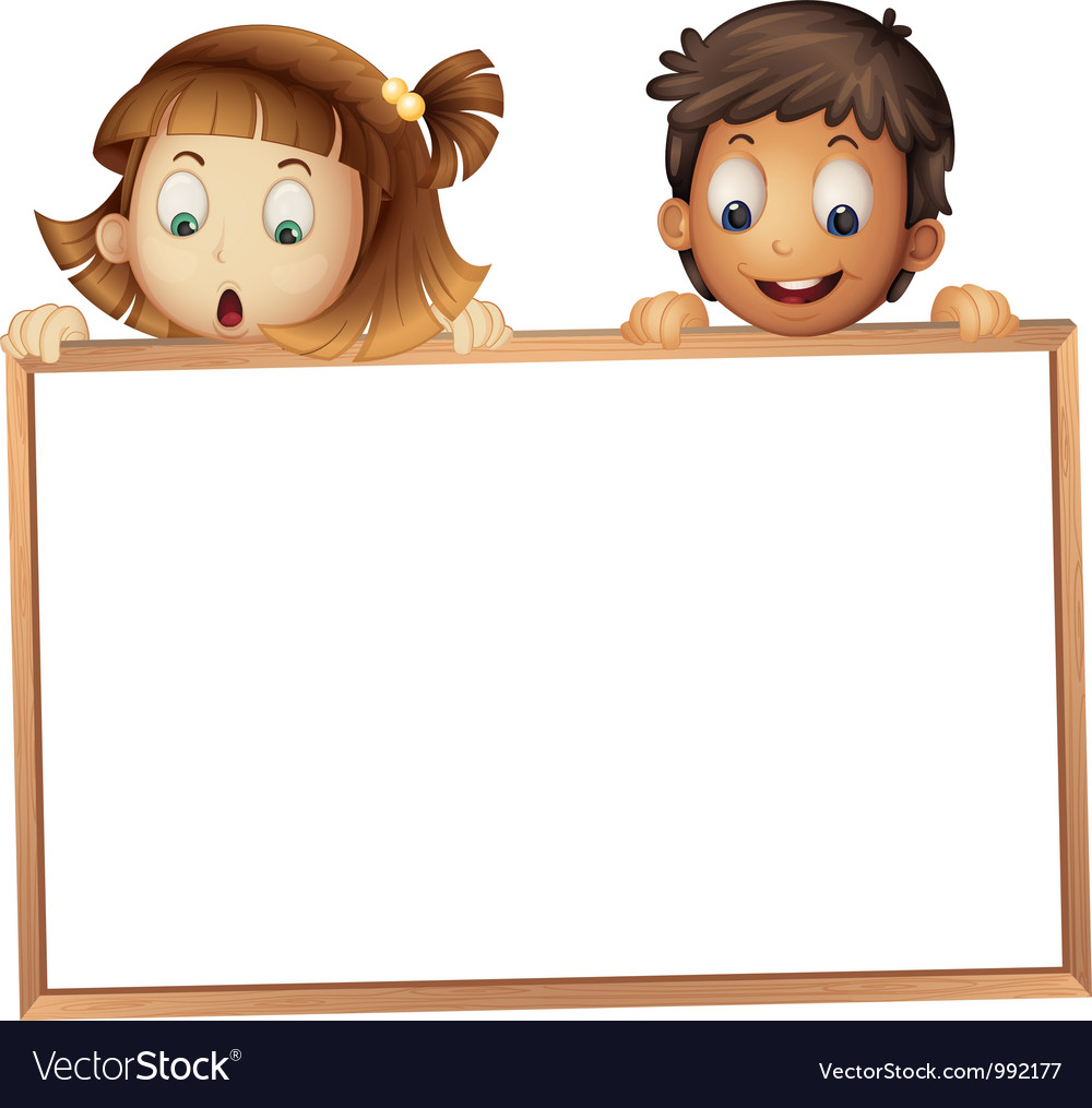 Kids holding wooden frame vector | Price: 3 Credit (USD $3)