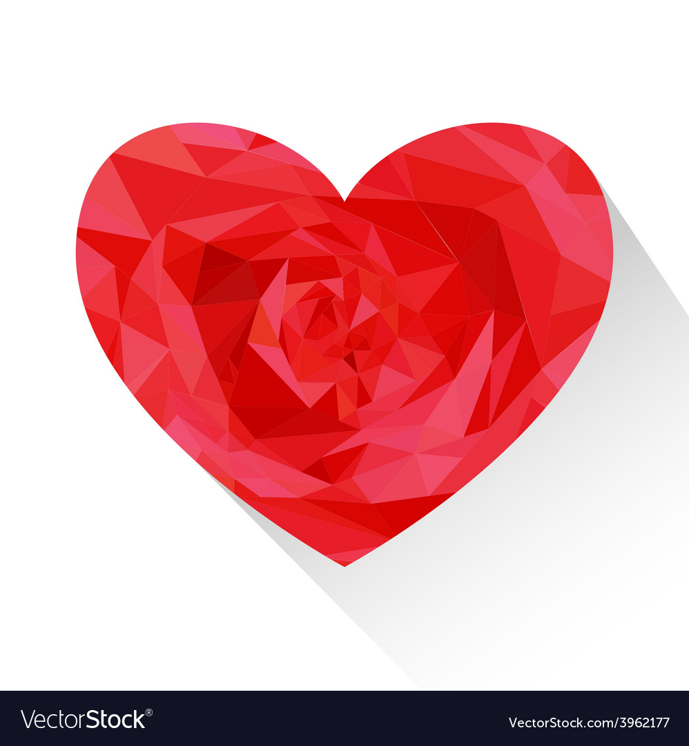 Polygon red love heart shape vector | Price: 1 Credit (USD $1)