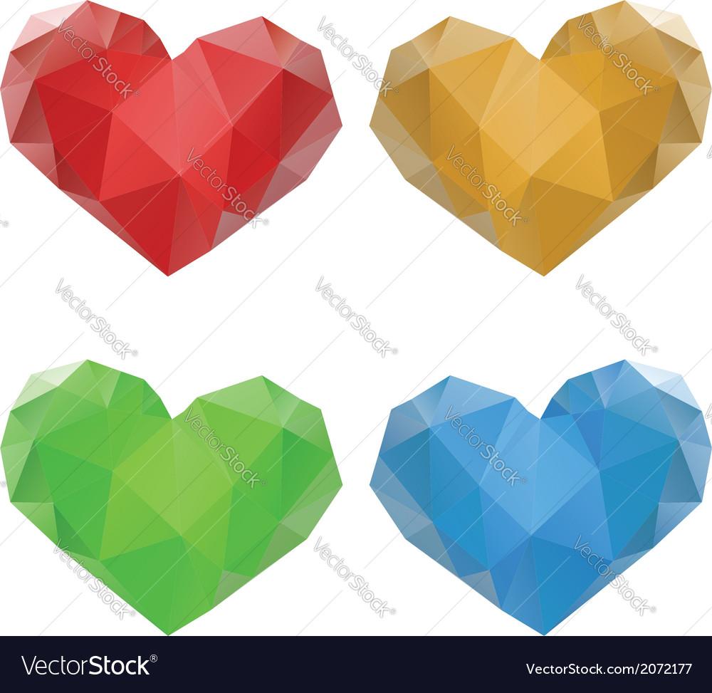 Polygonal hearts set3 vector   Price: 1 Credit (USD $1)
