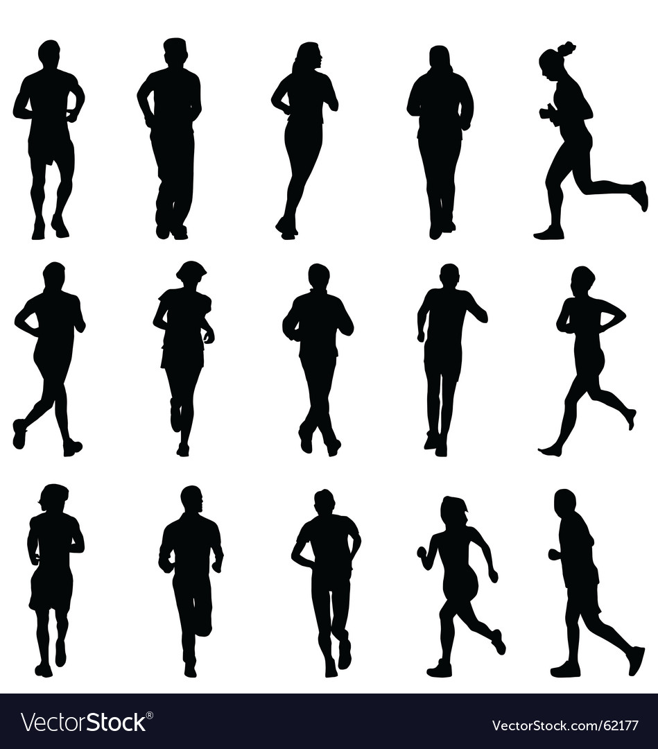 Running silhouettes vector | Price:  Credit (USD $)
