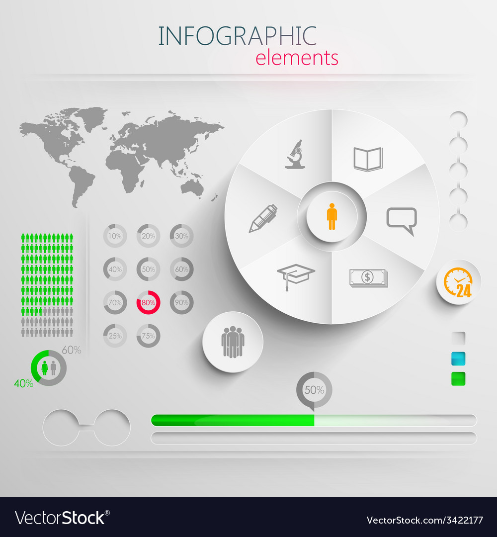 Set of abstract 3d paper infographic elements with vector | Price: 1 Credit (USD $1)