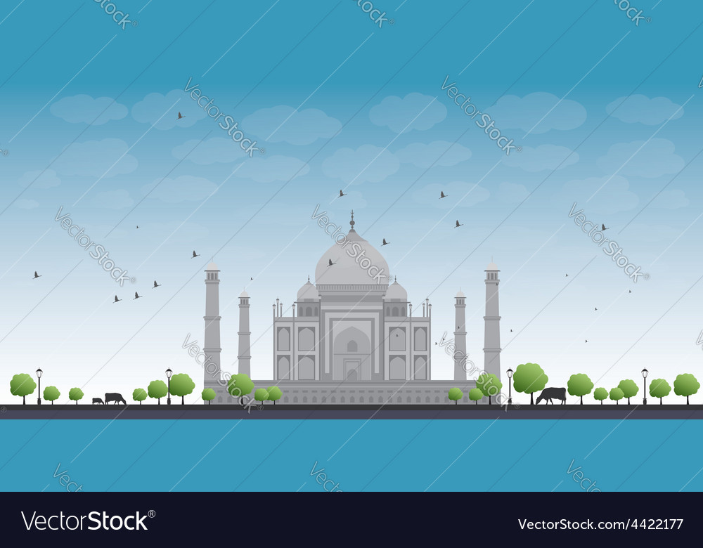 Taj mahal with tree and cow vector | Price: 1 Credit (USD $1)