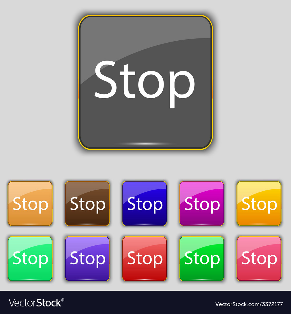 Traffic stop sign icon caution symbol set of vector | Price: 1 Credit (USD $1)