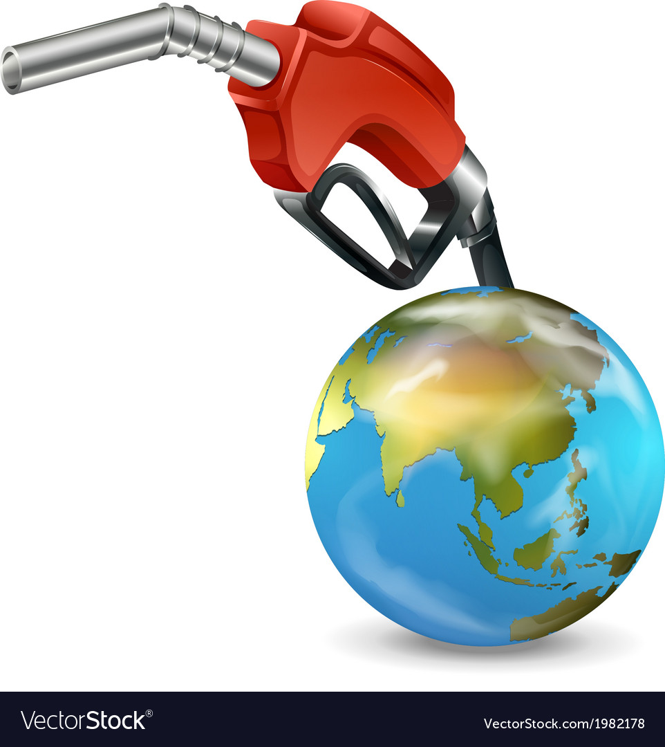 A red petrol pump and a globe vector | Price: 1 Credit (USD $1)