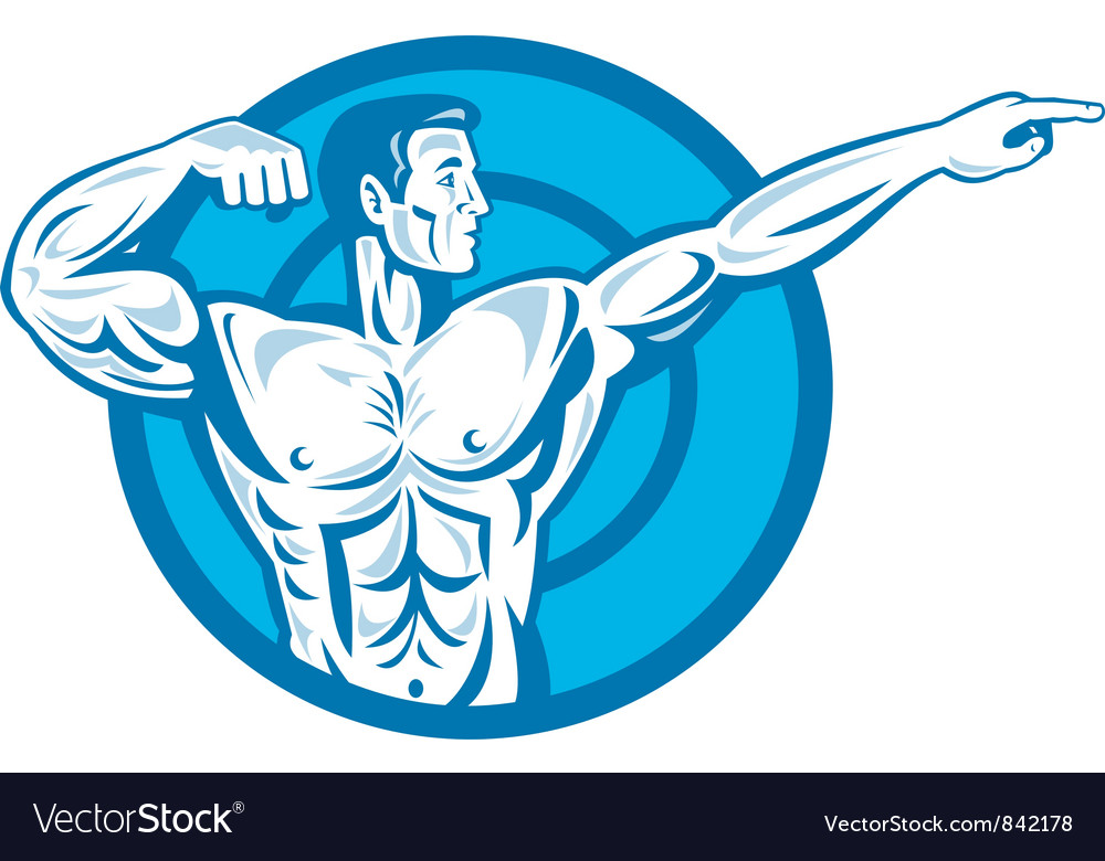 Bodybuilder flexing muscles pointing side retro vector | Price: 1 Credit (USD $1)