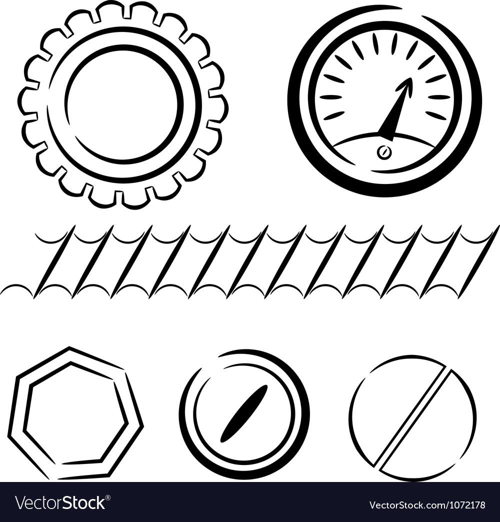 Cartoon set of industrial elements eps10 vector | Price: 1 Credit (USD $1)