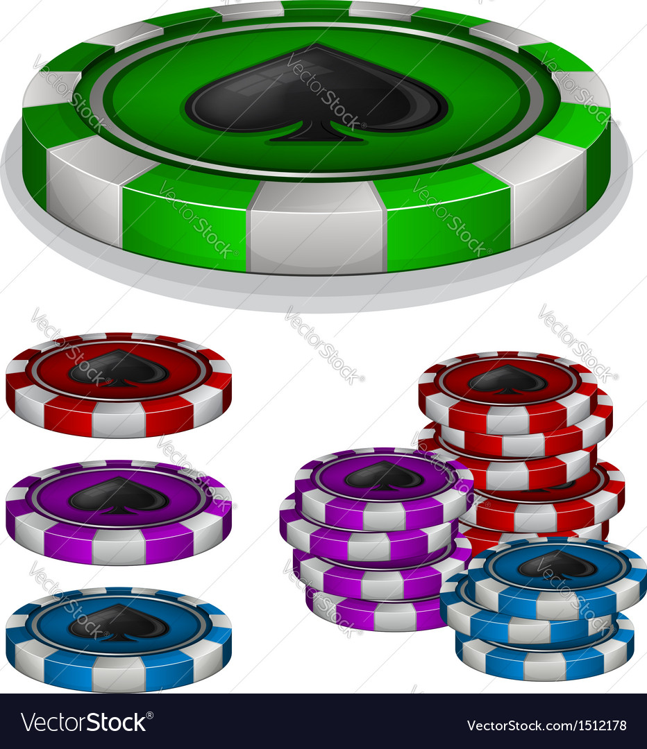 Casino chips with spades sign vector | Price: 1 Credit (USD $1)