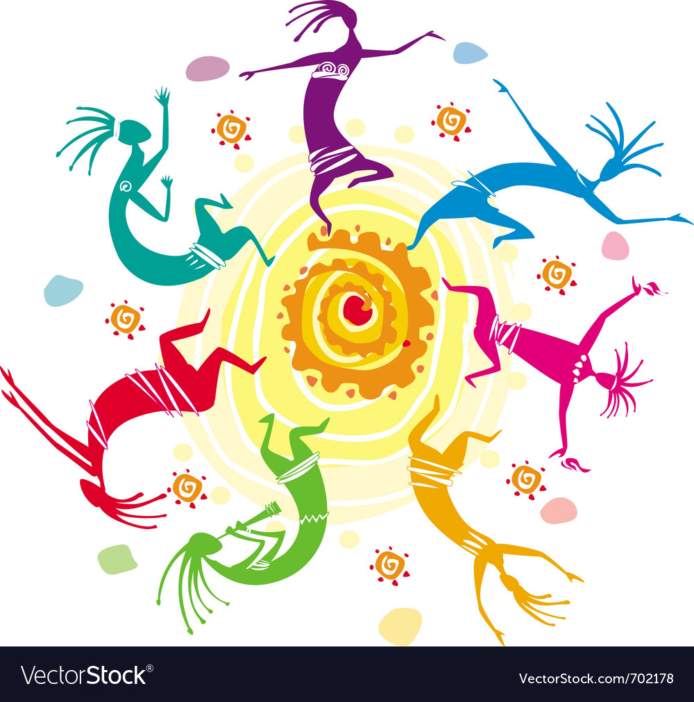 Color figures dancing in a circle vector | Price: 1 Credit (USD $1)