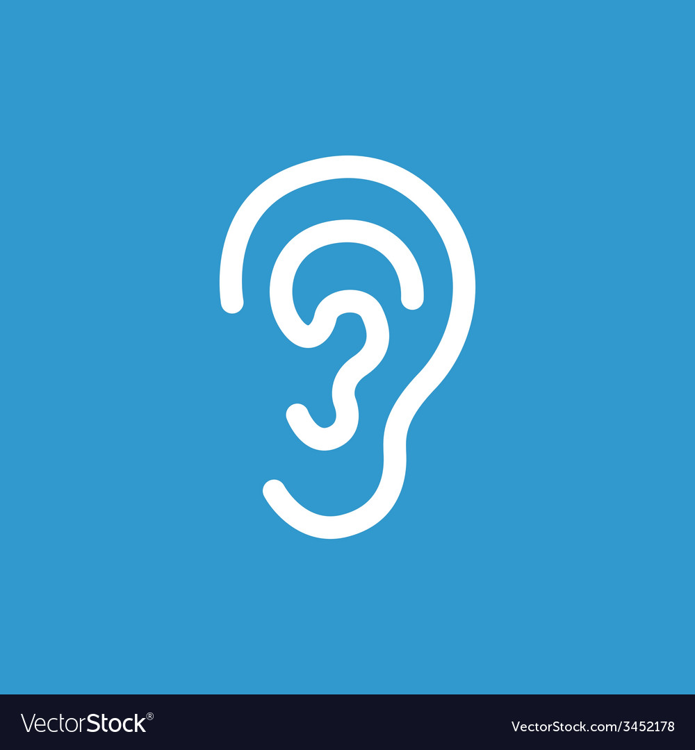 Ear icon white on the blue background vector | Price: 1 Credit (USD $1)