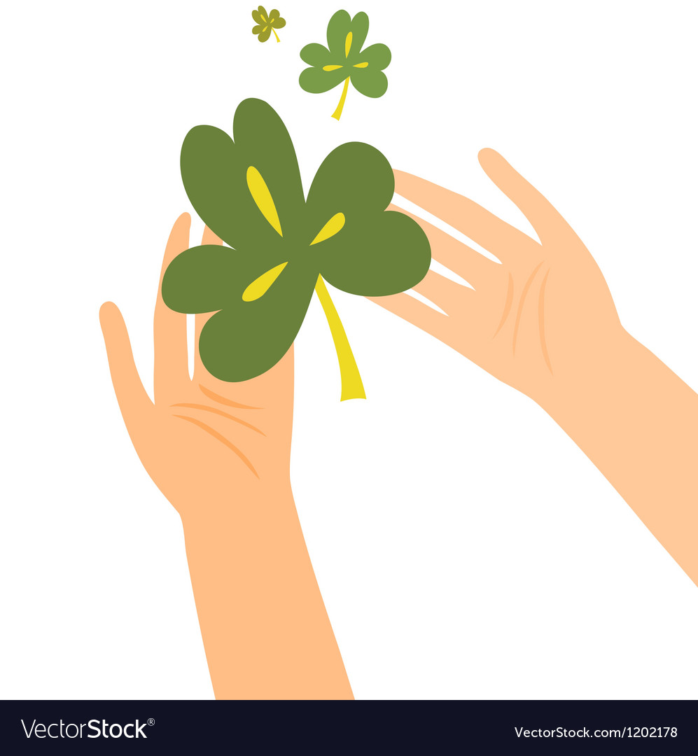 Hands holding clover leaf vector | Price: 1 Credit (USD $1)