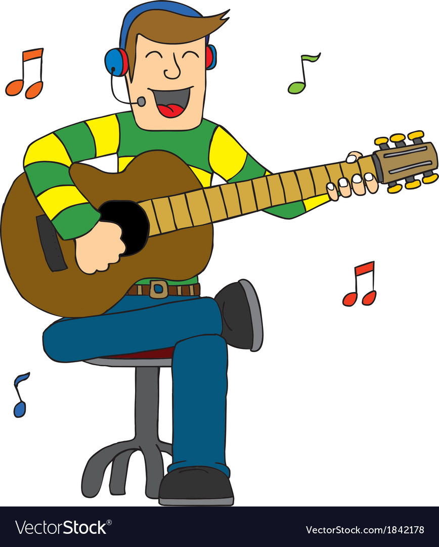 Man singing with guitar vector | Price: 1 Credit (USD $1)