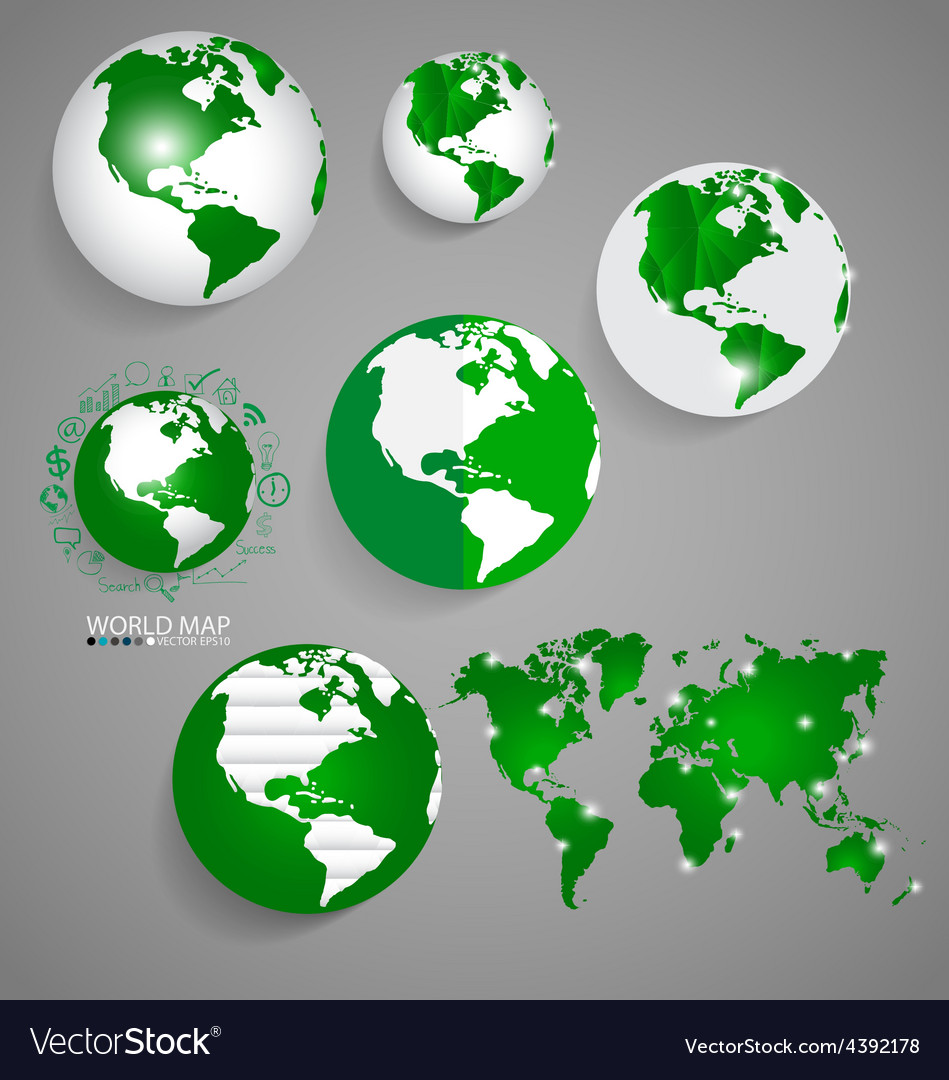 Modern globes and world map vector | Price: 1 Credit (USD $1)