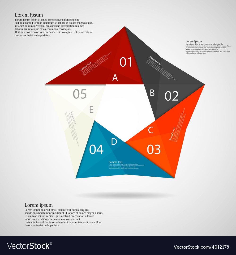 Pentagon origami infographic light vector | Price: 1 Credit (USD $1)