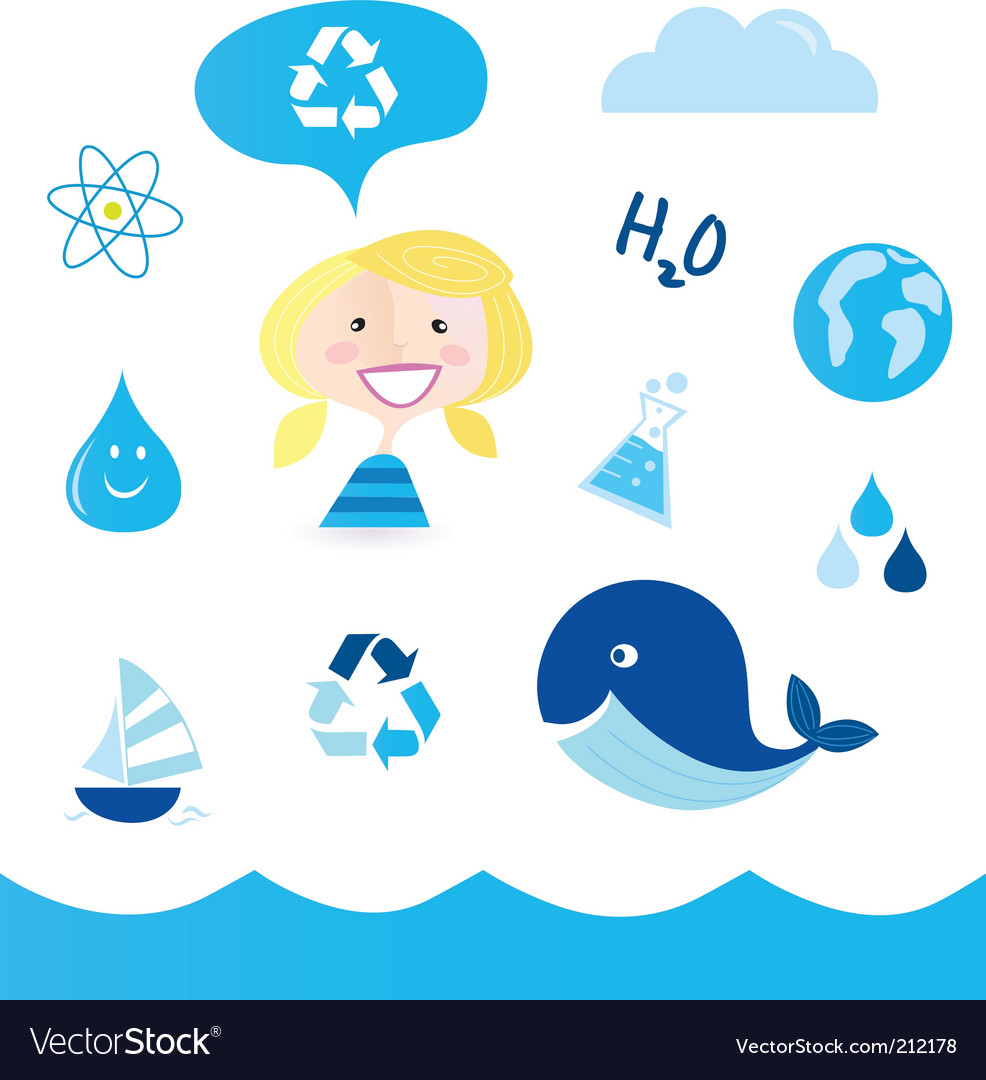 Recycle water icons vector | Price: 1 Credit (USD $1)