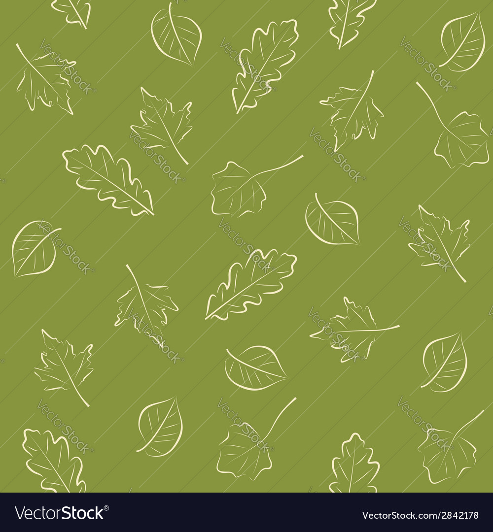 Seamless green pattern with leaves vector | Price: 1 Credit (USD $1)