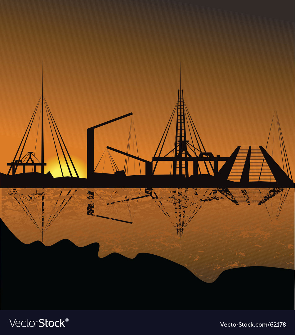 Silhouette of a harbor vector | Price: 1 Credit (USD $1)