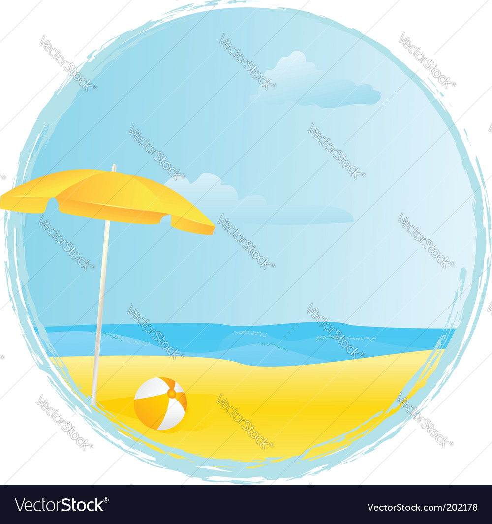 Summer banner with umbrella vector | Price: 3 Credit (USD $3)