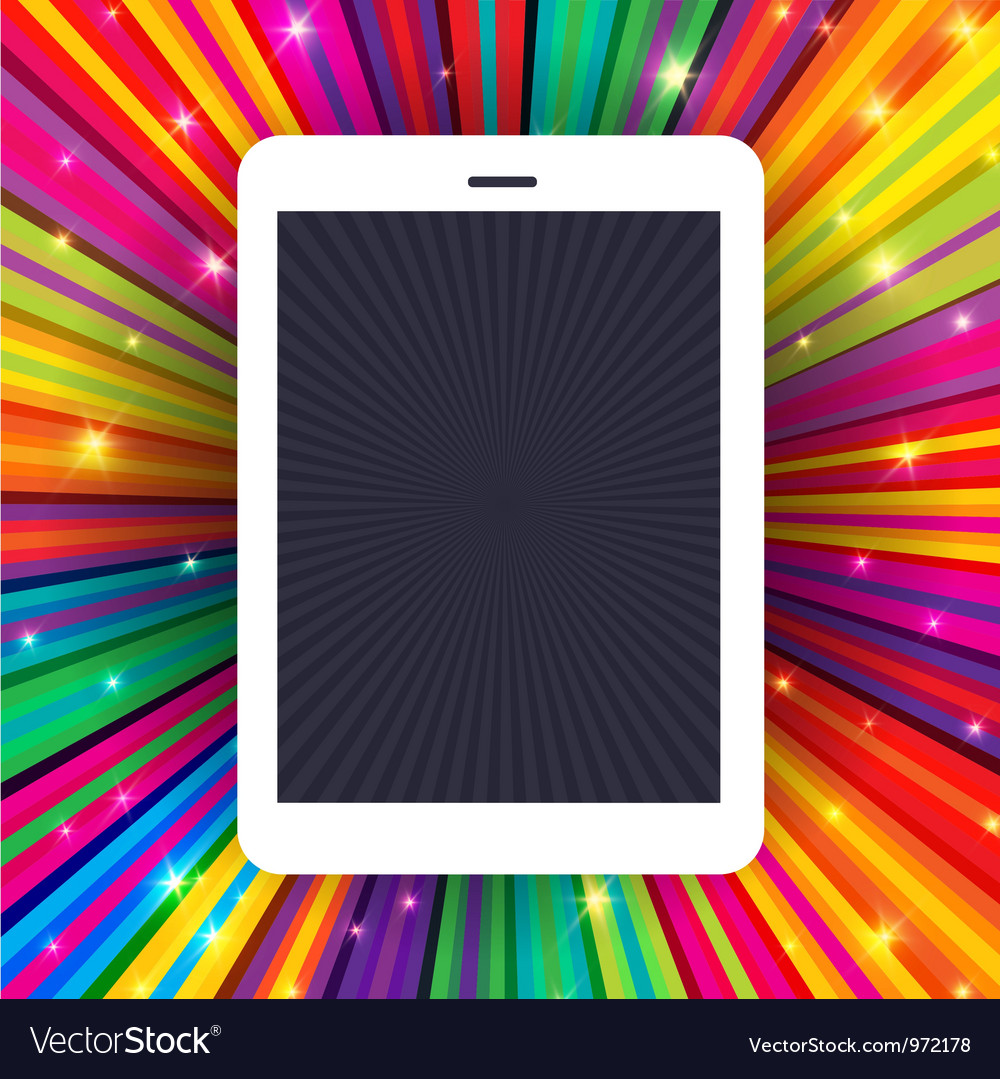 Tablet device on colorful rays concept background vector | Price: 1 Credit (USD $1)