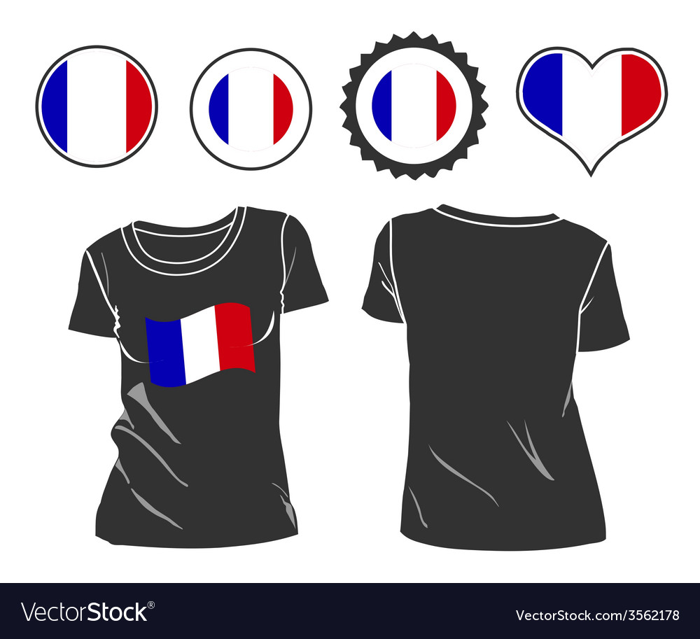 T-shirt with the flag of france vector | Price: 1 Credit (USD $1)
