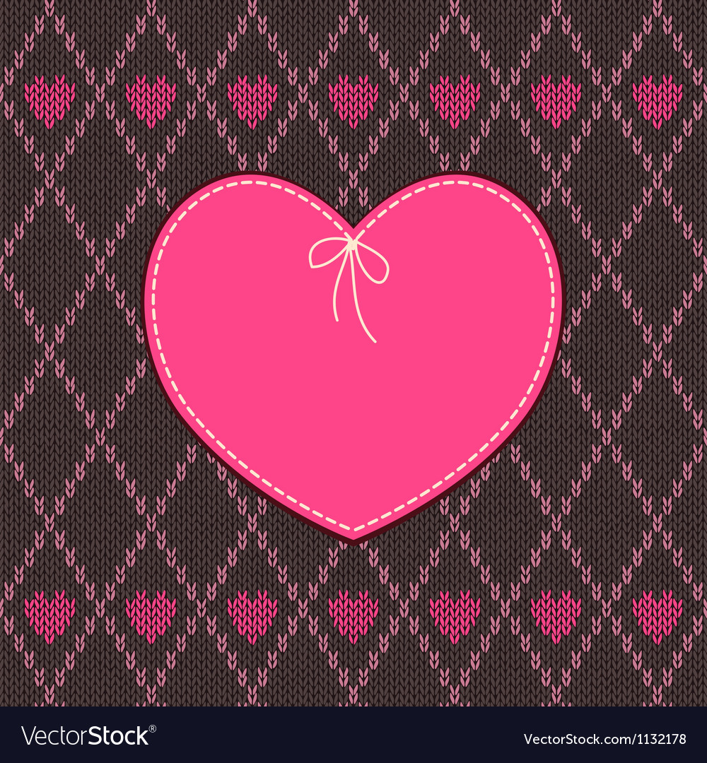 Vintage heart shape design with knitted pattern vector | Price: 1 Credit (USD $1)