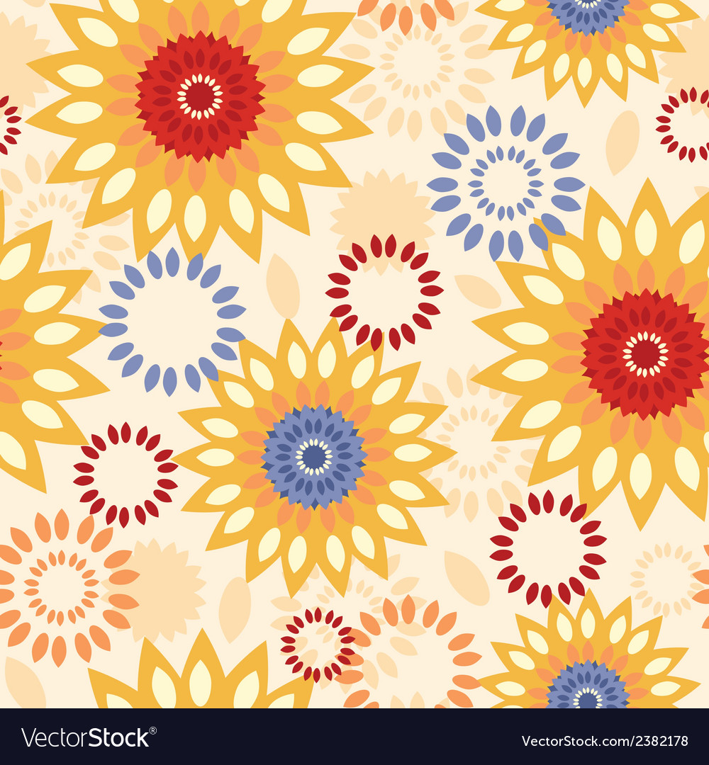 Warm vibrant floral abstract seamless pattern vector | Price: 1 Credit (USD $1)
