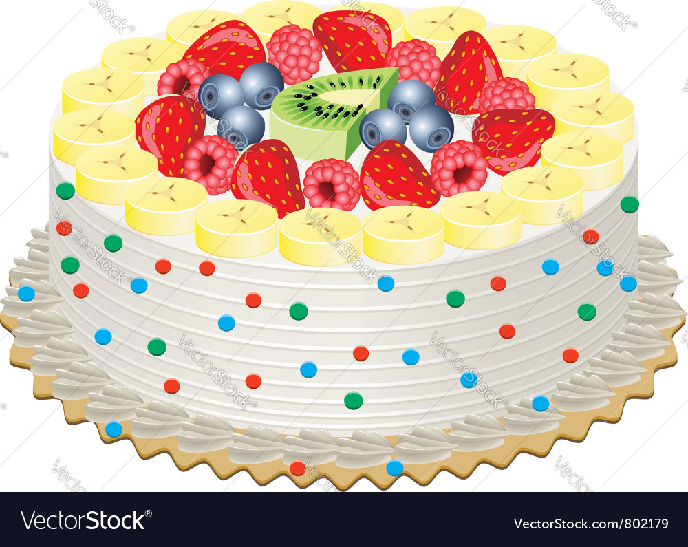 Cake with fruits vector | Price: 1 Credit (USD $1)