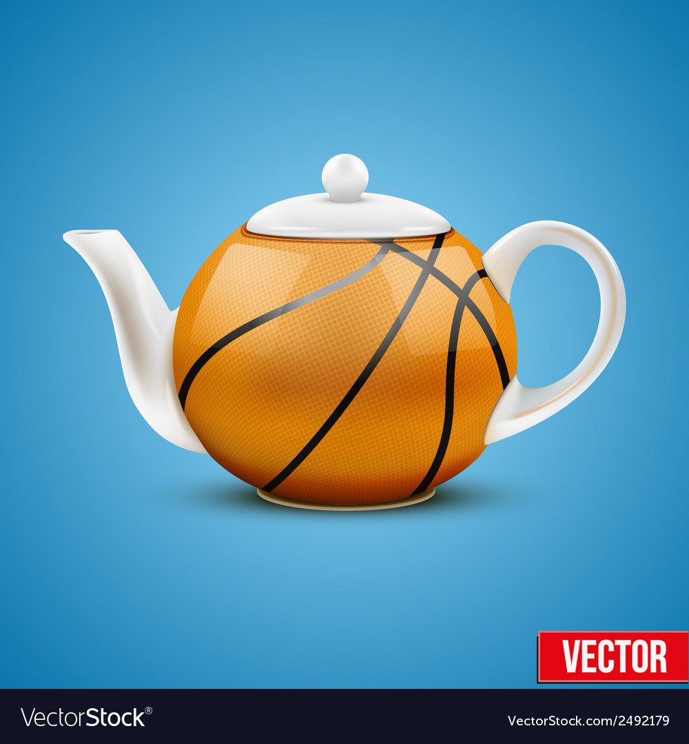 Ceramic teapot in basketball ball style vector | Price: 1 Credit (USD $1)