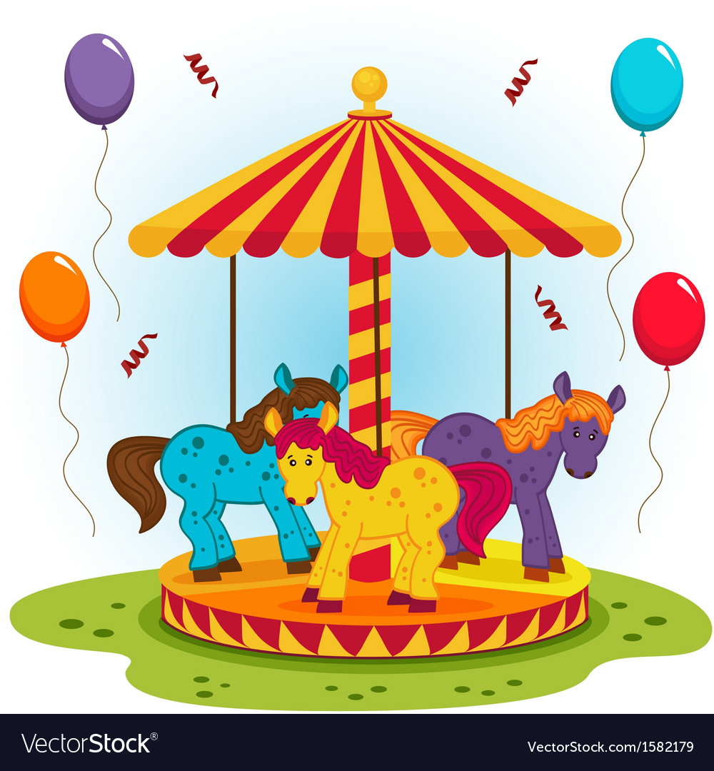 Children carousel with horses vector | Price: 1 Credit (USD $1)