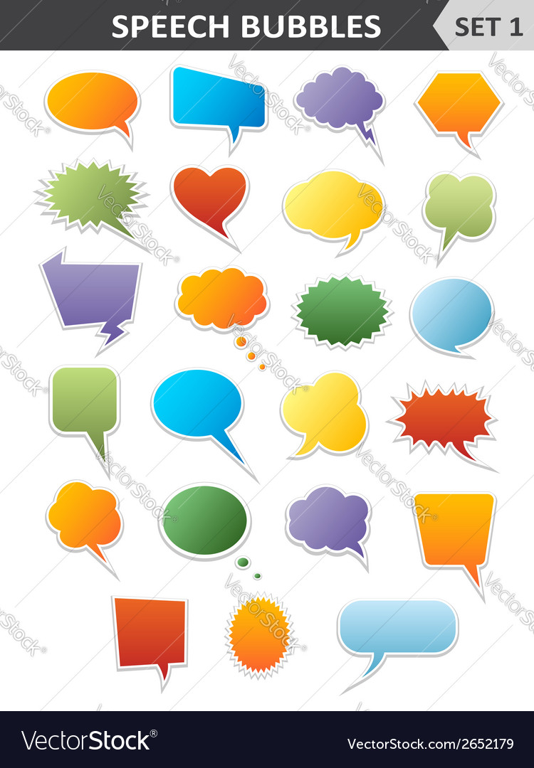 Colorful speech bubbles set 1 vector | Price: 1 Credit (USD $1)