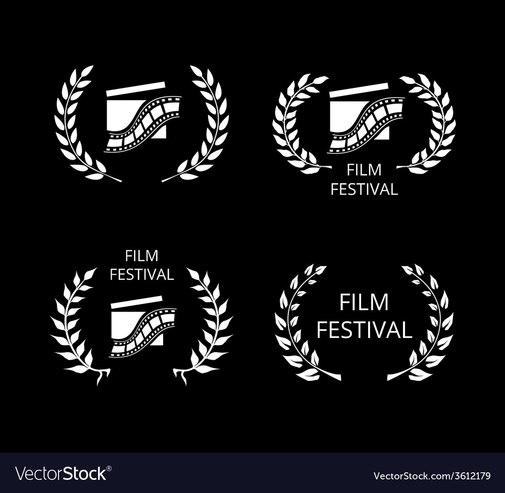 Four film festival symbols and logos on black vector | Price: 1 Credit (USD $1)