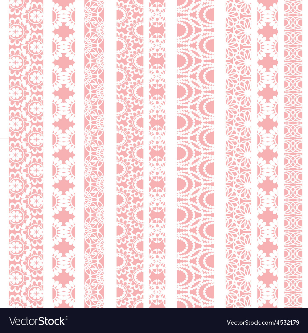 Lace ribbons fabric seamless pattern vector | Price: 1 Credit (USD $1)