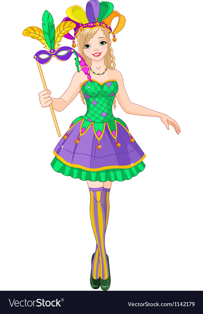 Mardi gras girl vector | Price: 3 Credit (USD $3)