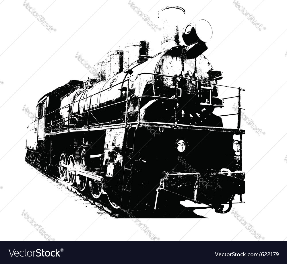 Old fashioned train vector | Price: 1 Credit (USD $1)