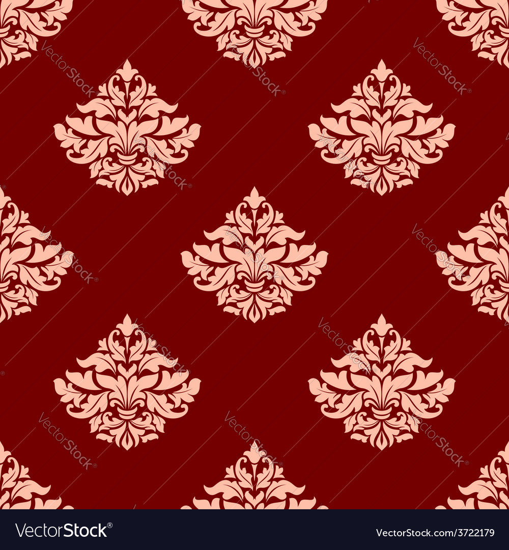 Pink victorian seamless pattern with leaves and vector | Price: 1 Credit (USD $1)
