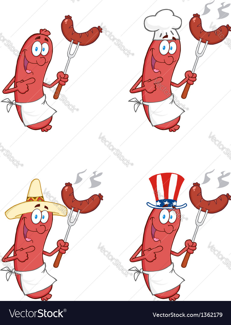 Sausages with sausage collection vector | Price: 1 Credit (USD $1)